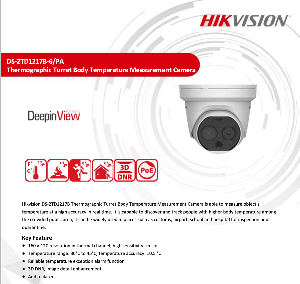 Hikvision Thermographic Body Temperature Measurement IP Camera DS-2TD2617B-6/PA